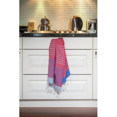 Knidos Hand Towel Color: Pink Base with Gray and Royal Blue Stripes