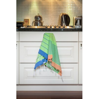 Knidos Hand Towel Color: Lime Green Base with Orange and Royal Blue Stripes