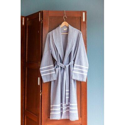 Burns Bath Robe Color: Navy/White
