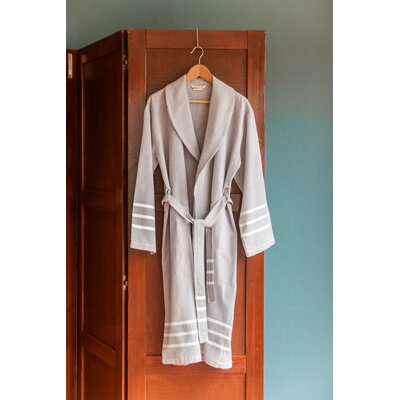 Burns Bath Robe Color: Gray/White