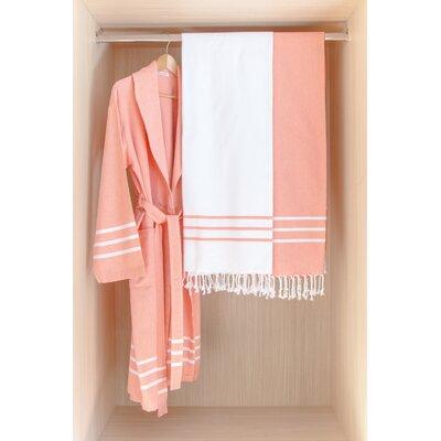 Burns Bath Robe Color: Teal/White