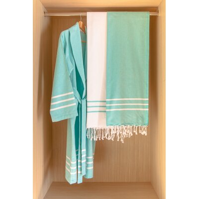 Burns Bath Robe Color: White/Baby Blue