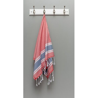 Myndos Hand Towel Color: Coral/Navy