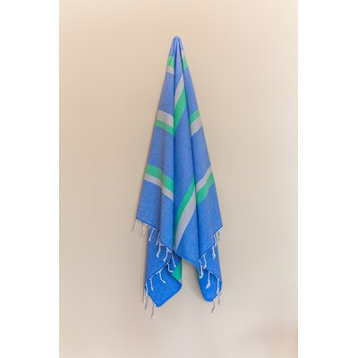 Knidos Beach Towel Color: Royal Blue/Green/Gray