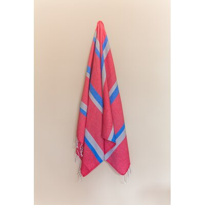 Knidos Beach Towel Color: Red/Gray/Royal Blue