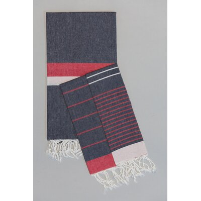 Knidos Hand Towel Color: Navy Base with Red and White Stripes