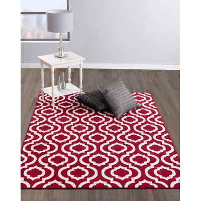 Buchan Red/Ivory Area Rug Rug Size: 710 x 910