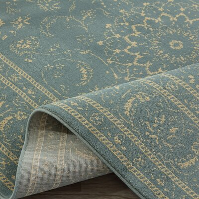 Queen Teal/Beige Traditional Persian Medallion Area Rug Rug Size: 53 x 73