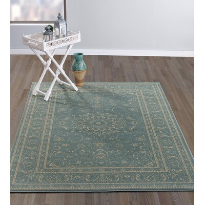 Queen Teal/Beige Traditional Persian Medallion Area Rug
