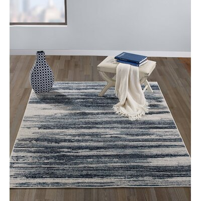 Jasmin Navy/Beige Area Rug Rug Size: 5 x 7