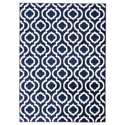 Buchan Navy/White Area Rug Rug Size: 53 x 73