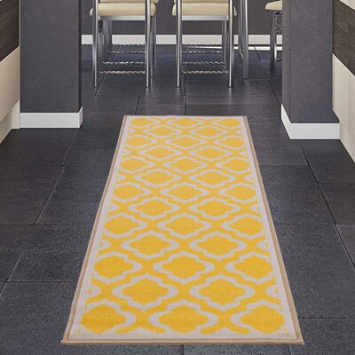 Avalon Yellow/Beige Area Rug Rug Size: Runner 18 x 411