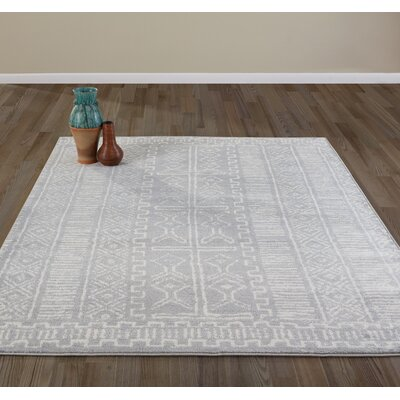 Jasmin Moroccan Design Gray/Ivory Area Rug Rug Size: 710 x 910