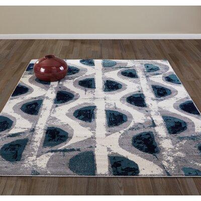 Jasmin Beige/Navy Area Rug Rug Size: 710 x 910