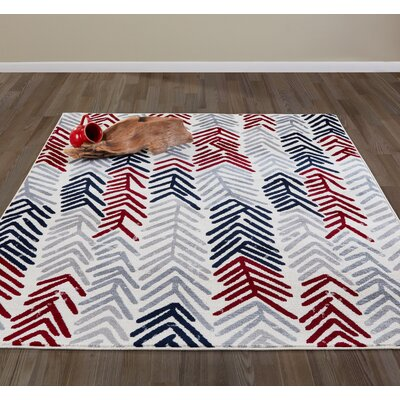 Jasmin Gray/Red Area Rug Rug Size: 53 x 73