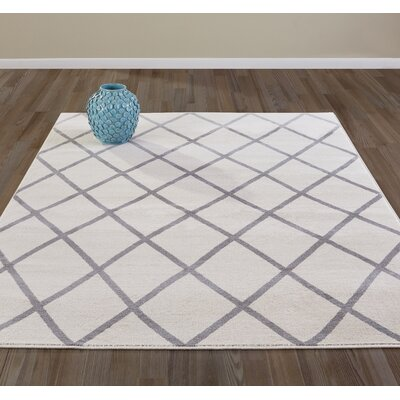Kester Moroccan Trellis Ivory/Gray Area Rug Rug Size: 710 x 910