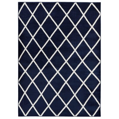 Kester Moroccan Trellis Navy/Ivory Area Rug Rug Size: 53 x 73