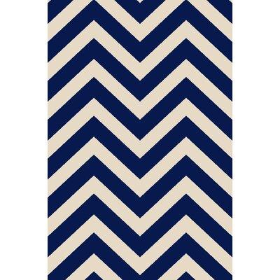 Anne Chevron Ivory/Navy Area Rug Rug Size: Runner 27 x 91