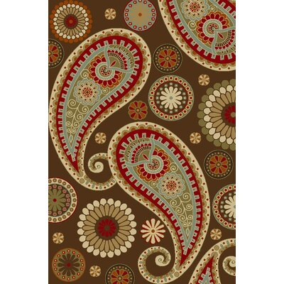 Anne Paisley Brown/Red Area Rug Rug Size: 5 x 66