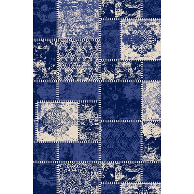 Anne Patchwork Blue/Ivory Area Rug Rug Size: Runner 18 x 411