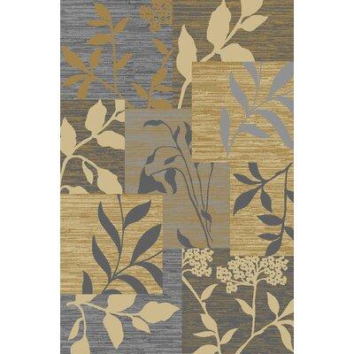 Anne Floral Patchwork Gold/Blue Area Rug Rug Size: 5 x 66