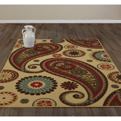 Anne Paisley Beige/Red Area Rug Rug Size: Runner 27 x 91