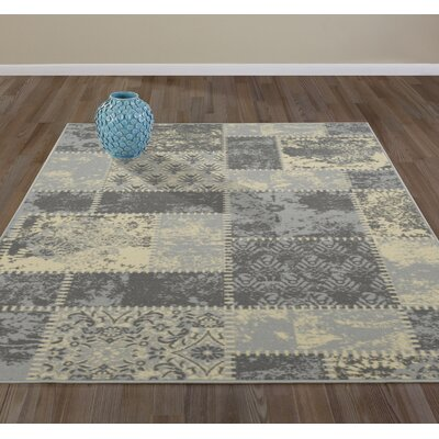 Anne Patchwork Gray/Ivory Area Rug Rug Size: Runner 18 x 411