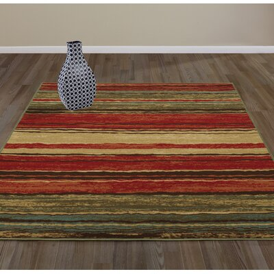 Anne Stripe Red/Brown Area Rug Rug Size: Runner 18 x 411