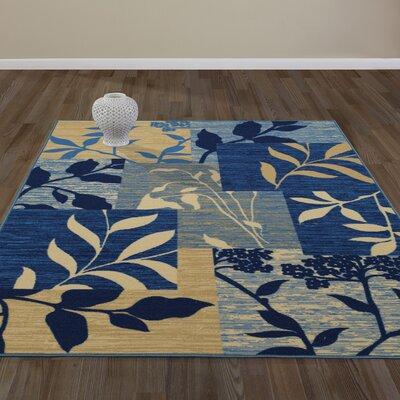 Anne Floral Patchwork Blue/Beige Area Rug Rug Size: Runner 22 x 6