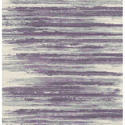 Tierra Stripe Ivory/Purple/Gray Area Rug Rug Size: 53 x 73