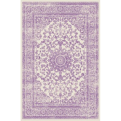 Zander Medallion Ivory/Purple Indoor Area Rug Rug Size: 53 x 73