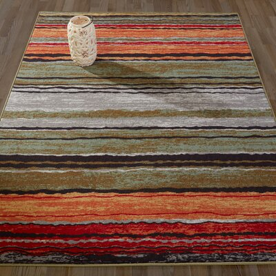 Anne Stripe Orange/Red Area Rug Rug Size: Runner 22 x 6