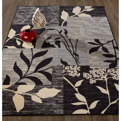 Anne Floral Patchwork Gray/Black Area Rug Rug Size: Runner 22 x 6