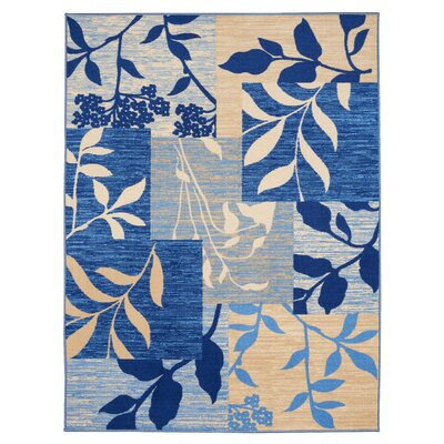 Anne Floral Patchwork Blue/Beige Area Rug Rug Size: 5 x 66