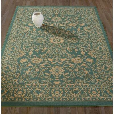 Anne Oriental Mahal Teal/Beige Area Rug Rug Size: Runner 18 x 411
