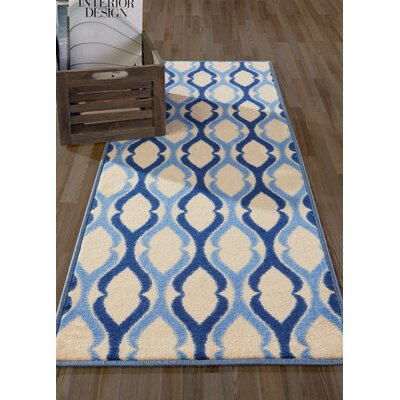 Anne Moroccan Trellis Ivory/Blue Area Rug