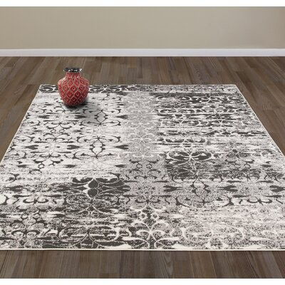 Flowers Gray Area Rug Rug Size: Rectangle 53 W x 73 L