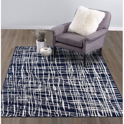 Abstract Modern Navy/Ivory Area Rug Rug Size: Rectangle 53 W x 73 L