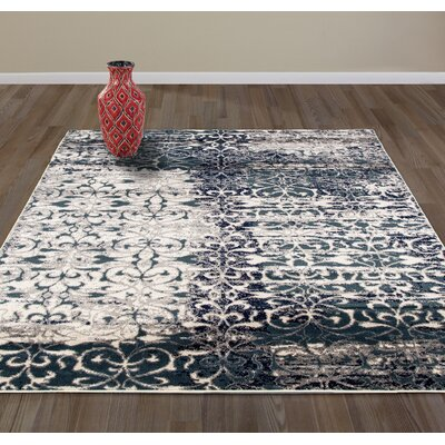 Union Flowers Gray/Navy Area Rug Rug Size: Rectangle 53 W x 73 L