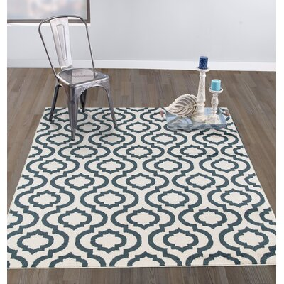 Tuscola Trellis Ivory/Teal Area Rug Rug Size: Rectangle 710 W x 910 L