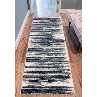 Chantal Ivory/Blue Area Rug Rug Size: Runner 27 x 91