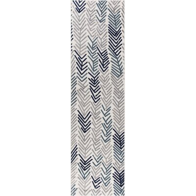 Ivory/Gray Area Rug Rug Size: Runner 27 x 91