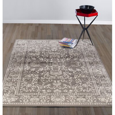 Urbaniak Oriental Mahal Gray Area Rug Rug Size: Rectangle 53 W x 73 L