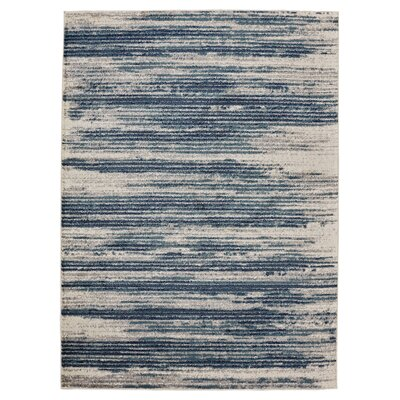 Chantal Ivory/Blue Area Rug Rug Size: Rectangle 67 W x 93 L