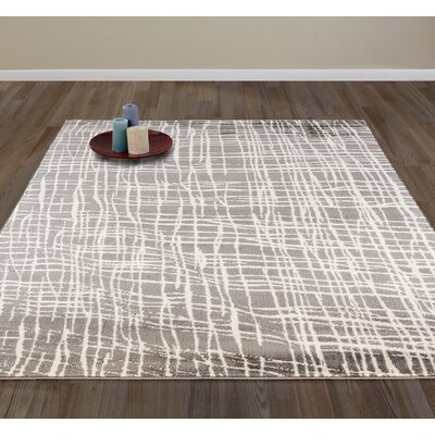 Abstract Modern Gray/Ivory Area Rug Rug Size: Rectangle 710 W x 910 L