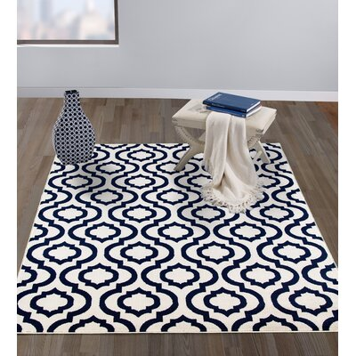 Tuscola Trellis Ivory/Navy Area Rug Rug Size: Rectangle 53 W x 73 L