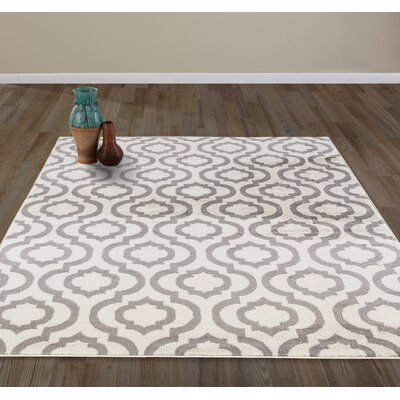 Tuscola Ivory/Gray Area Rug Rug Size: Rectangle 53 W x 73 L