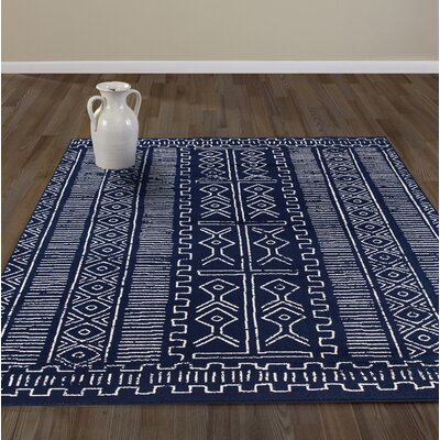Baldhart Navy Area Rug Rug Size: Rectangle 53 W x 73 L
