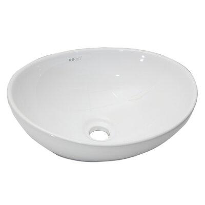 Oval Vessel Bathroom Sink Sink Finish: White
