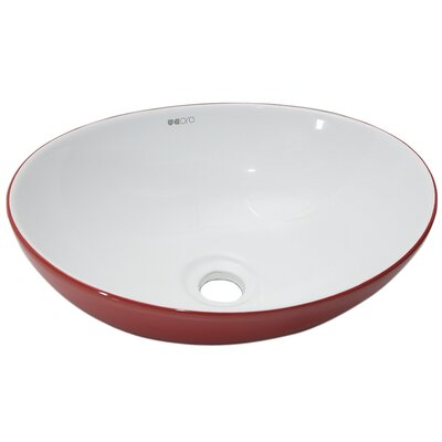 Ceramic Oval Vessel Bathroom Sink Sink Finish: Red